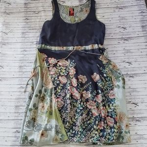 Johnny Was Dress Silk Floral Smooth Blues Greens